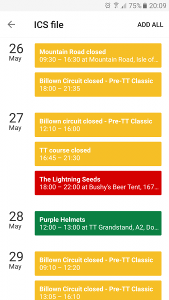 The Bushy's TT 2017 smartphone calendar